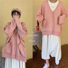 甜美少女感减龄嫩粉色针织外套女秋装韩版宽松复古大口袋开衫毛衣