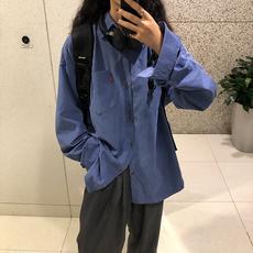 长袖衬衫外套女秋季韩版复古港味休闲上衣宽松BF学院风口袋衬衣潮