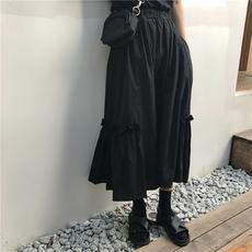 黑色半身裙女中长款荷叶边长裙夏季高腰显瘦a字裙ins超火学生半裙