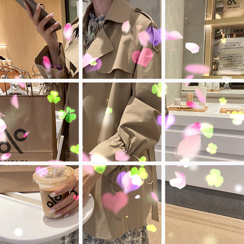 """小玉酱""""咖啡""""短风衣外套薄款女宽松韩版2020新款流行秋装-火辣椒服饰-"""