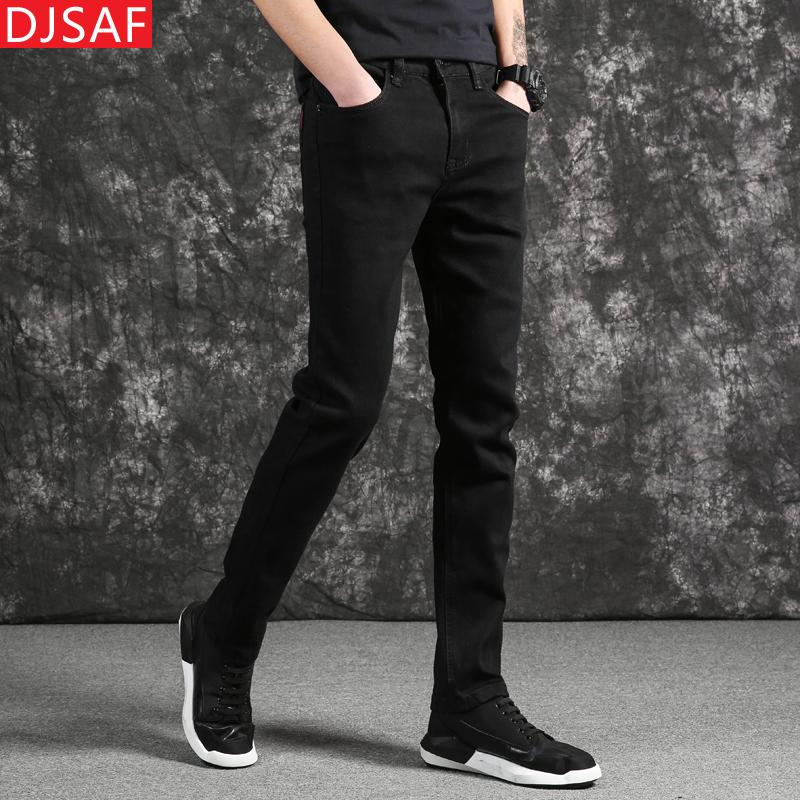 夏季男士纯黑色直筒牛仔裤男修身弹力夏天薄款男式休闲牛子裤长裤
