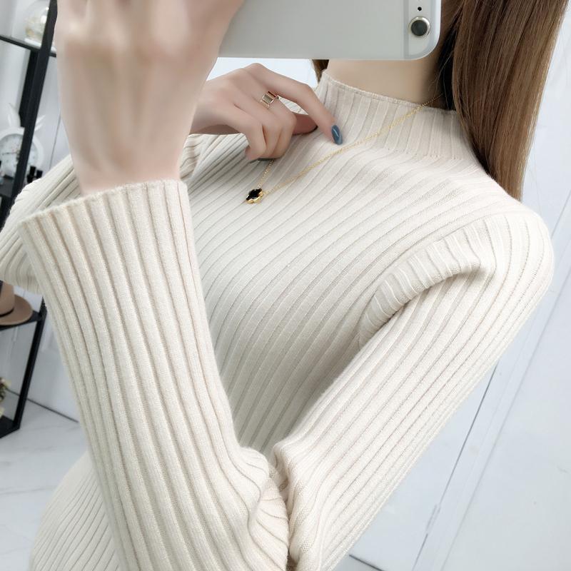 秋冬新款2020韩版一字领毛衣针织衫长袖修身显瘦内搭厚打底衫女潮