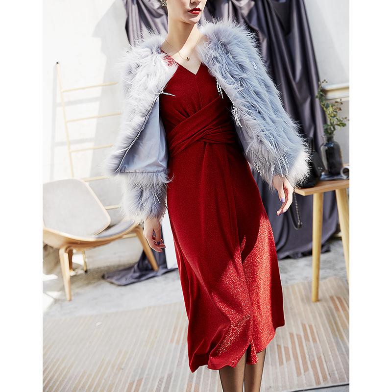 蓝家 亮丝正式场合礼服桔梗裙气质针织冬季连衣