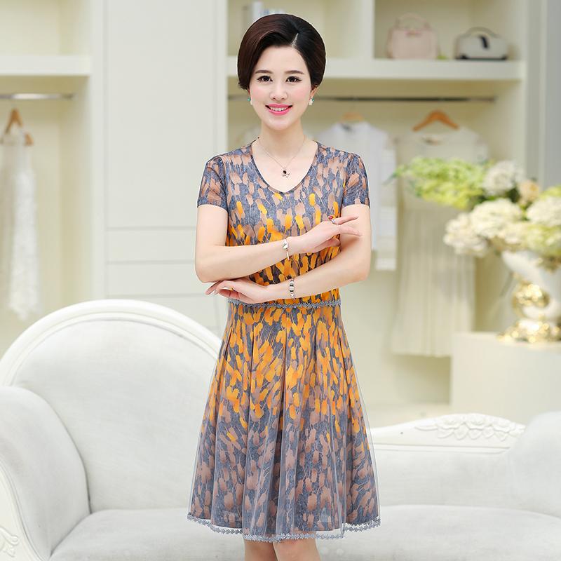 中老年女装夏装短袖连衣裙40-50中年妈妈装夏季时尚修身裙子