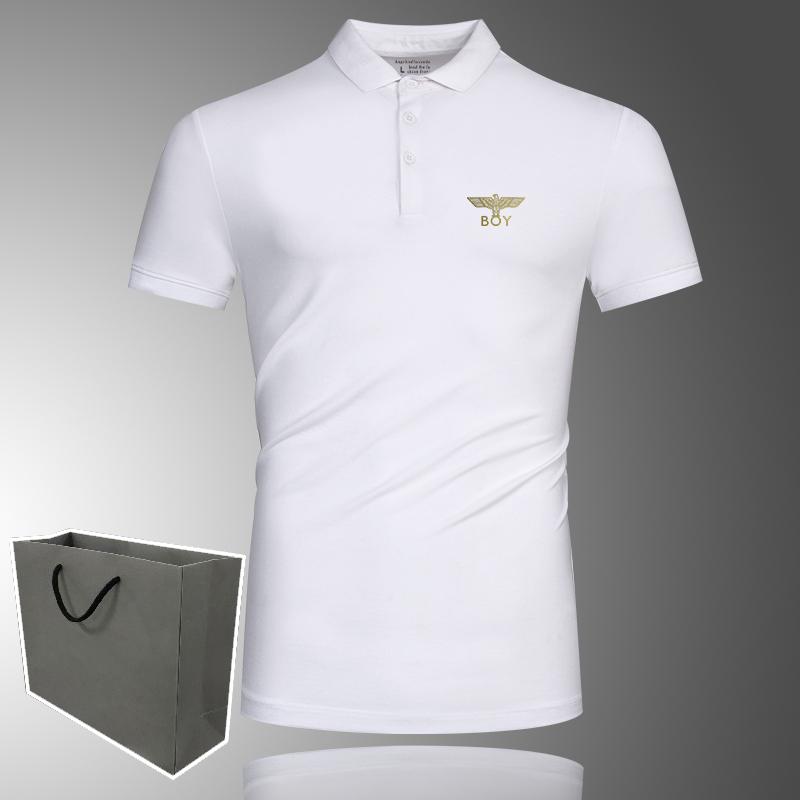 夏季新款boy白色翻领短袖T恤男装纯棉胖子肥佬POLO衫立领半袖上衣