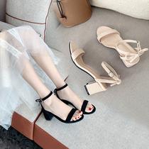 2021新款小清新夏粗跟高跟5cm蝴蝶结一字扣带低跟3cm小码女凉鞋33