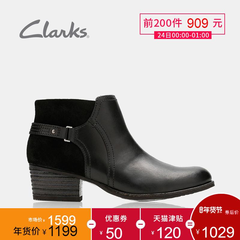 clarks其乐女鞋休闲粗高跟踝靴短靴女2017秋冬新款Maypearl Lilac