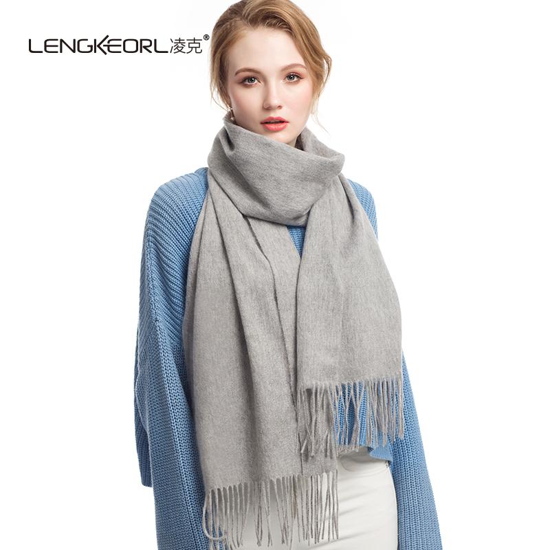 凌克灰色百搭羊毛披肩围巾