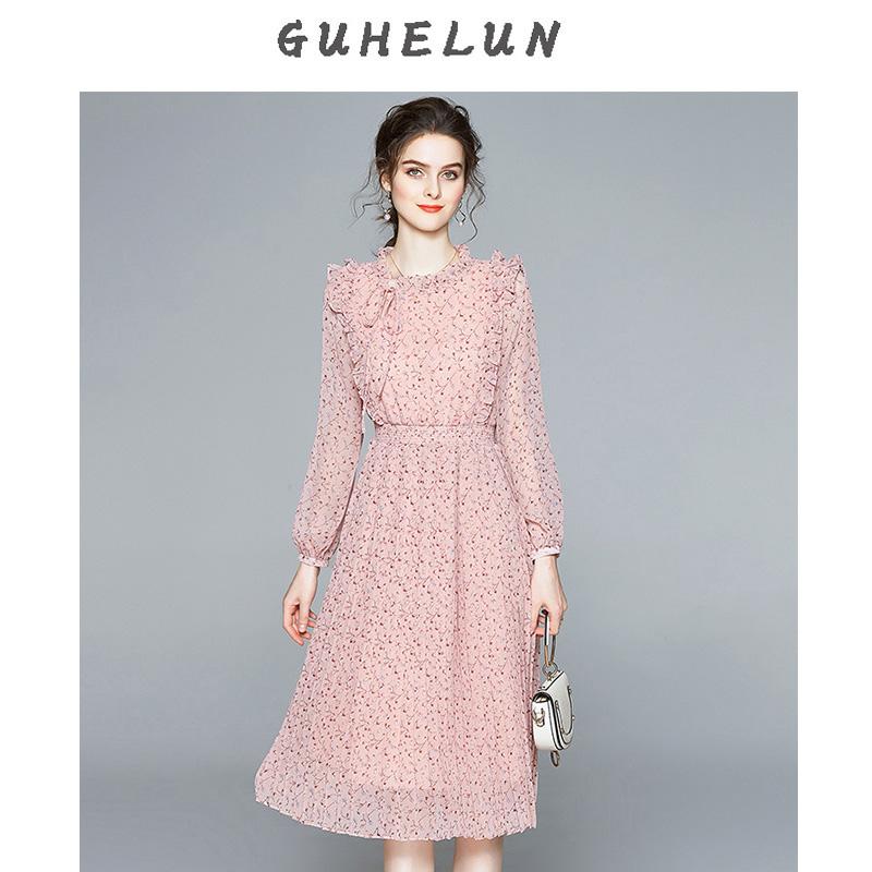 花减龄粉雪纺百褶裙中长连衣裙