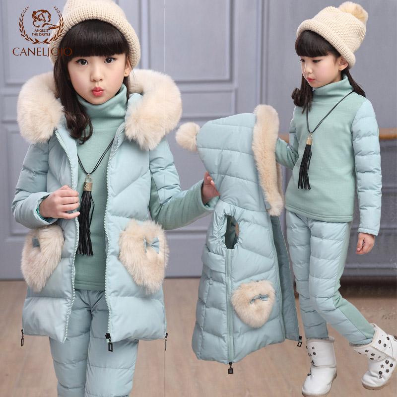 童装儿童冬装女童卫衣套装2017新款中大童冬季加厚棉衣加绒三件套