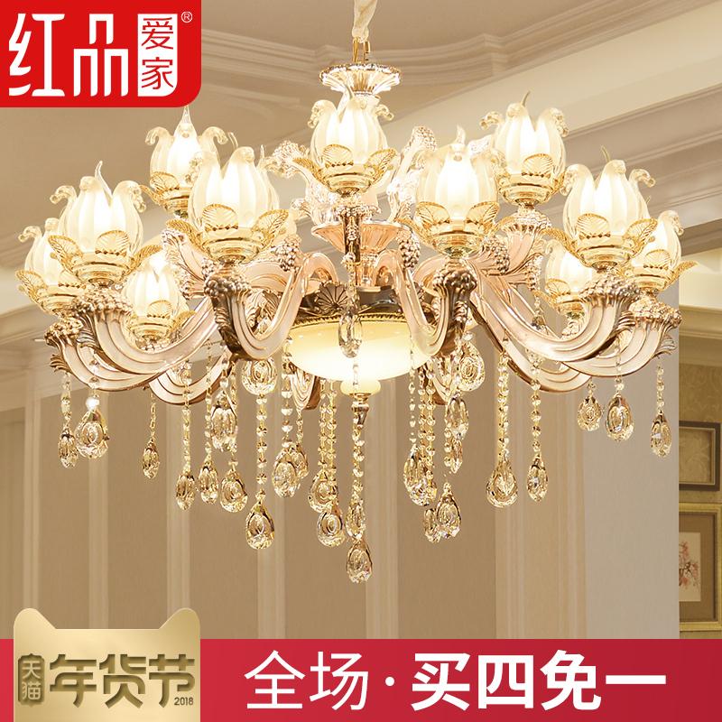 欧式玉石水晶大吊灯锌合金客厅蜡烛水晶灯别墅卧室餐厅复式楼梯灯