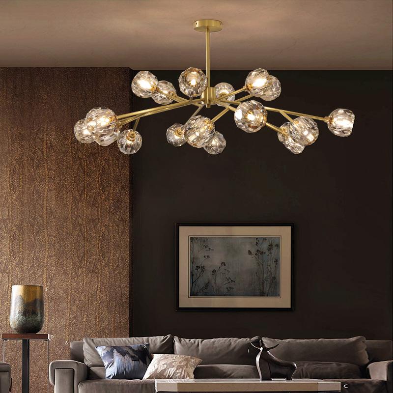 后现代吊灯 美式轻奢全铜分子水晶简约创意北欧个性客厅餐厅灯具-冠嘉家居用品专营店