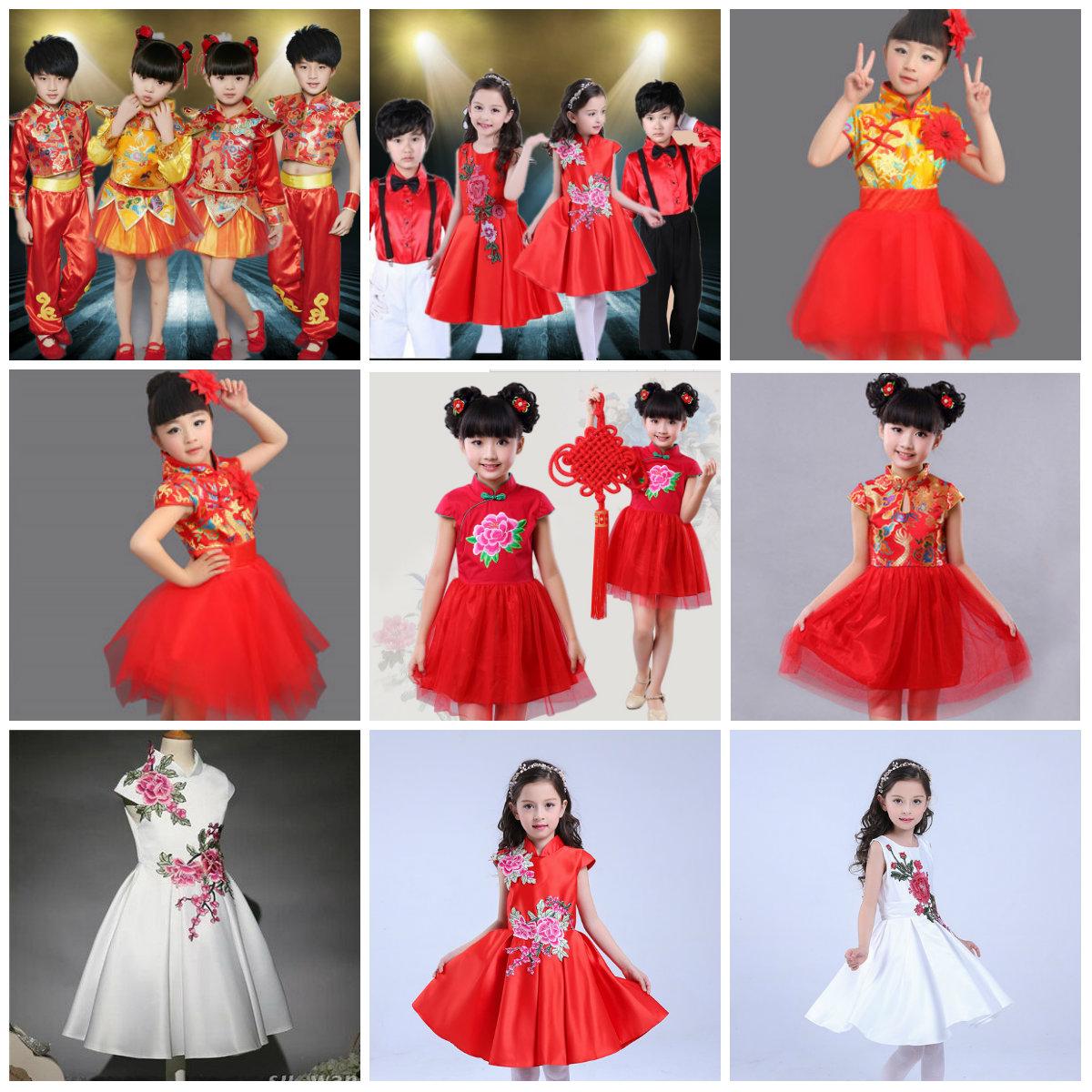 儿童旗袍女童夏装 小孩唐装礼服公主旗袍裙 古筝琵琶演出表演服装