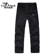 Cook shark men's and women's two-piece 3-in-1 charging pants, plush and thickened mountaineering, waterproof and windproof skiing in winter
