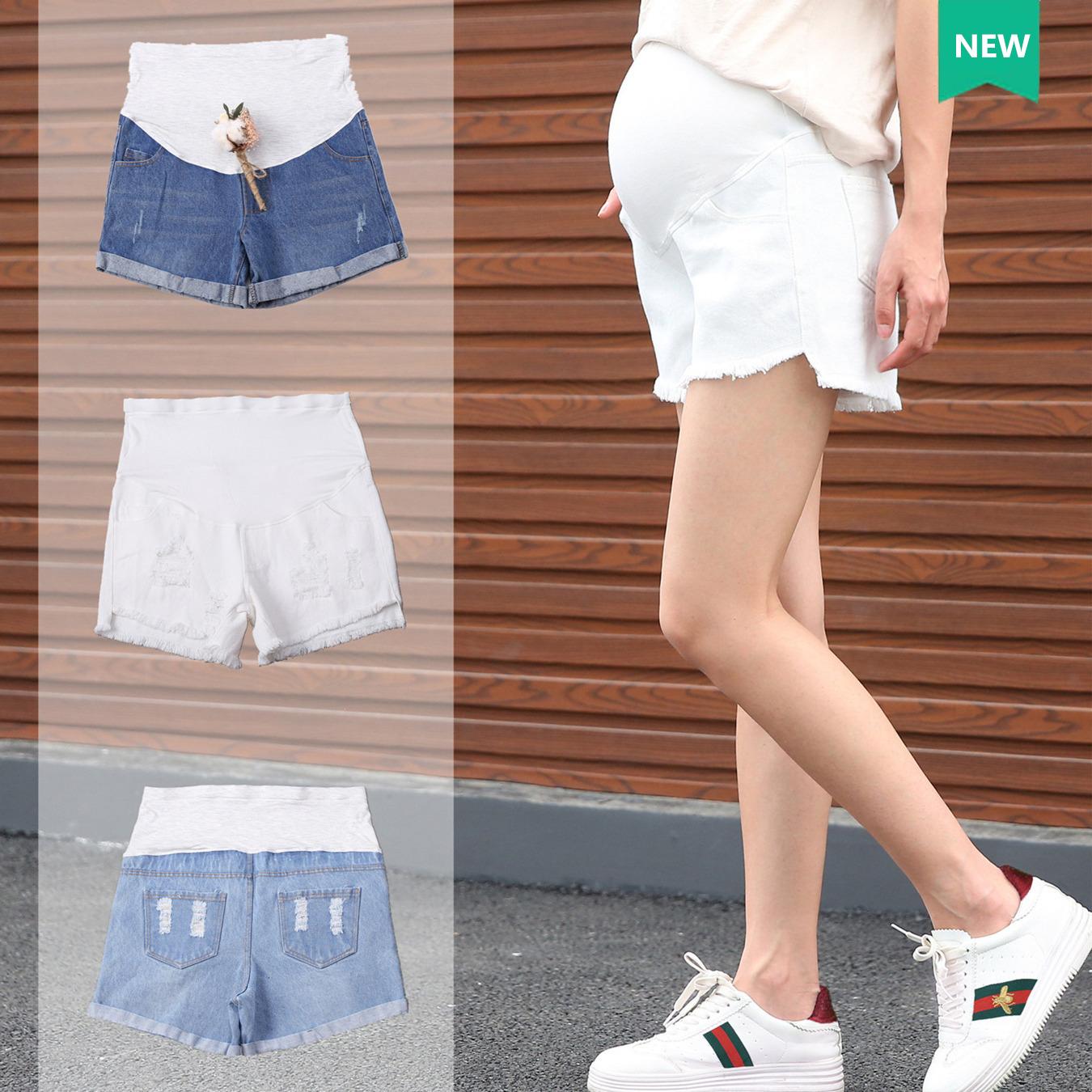 孕妇牛仔短裤女孕妇装夏装时尚孕妇裤子春夏季薄款外穿安全打底裤