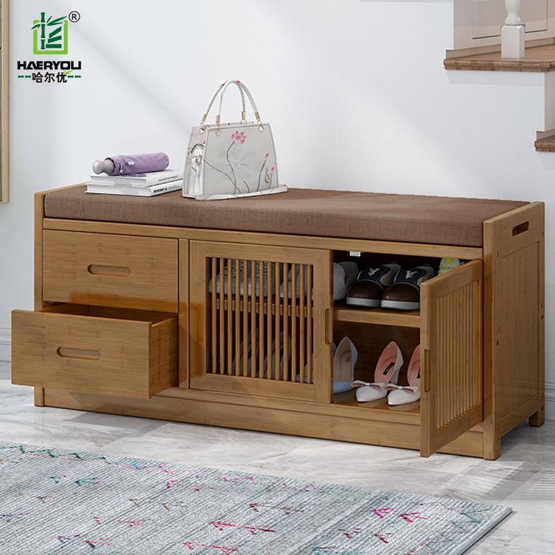 换鞋凳家用门口可坐穿鞋凳现代简约实木收纳凳储物鞋凳进门竹鞋柜