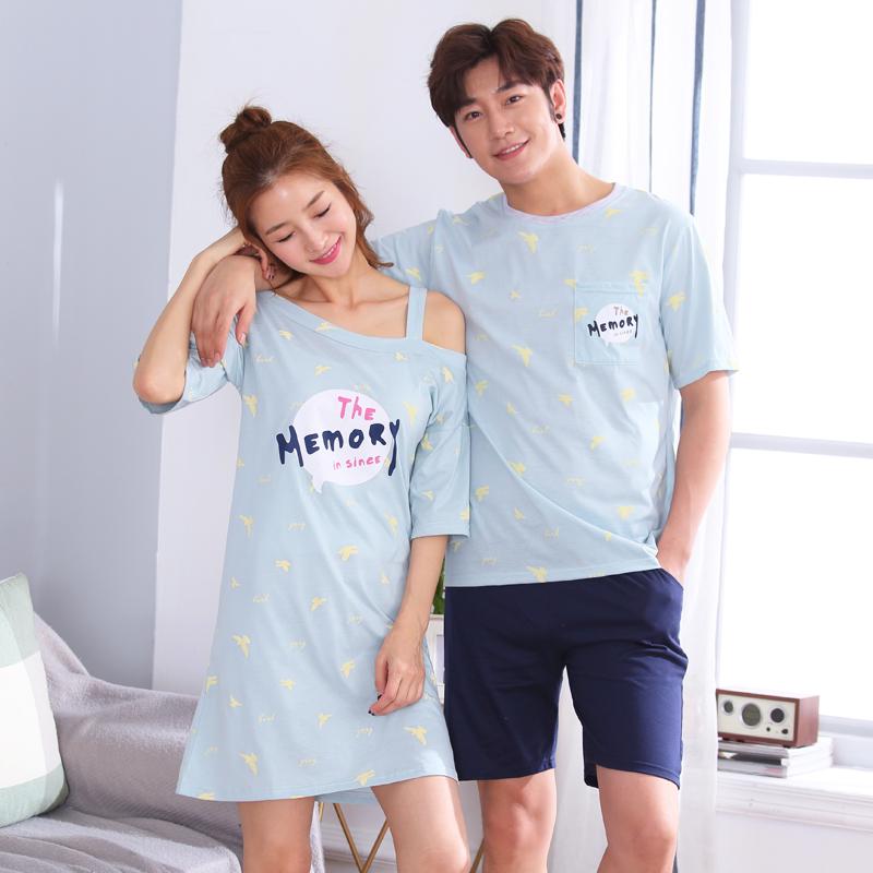 夏季韩版可爱情侣睡衣薄款舒适家居服套装男士女士夏天宽松可外穿