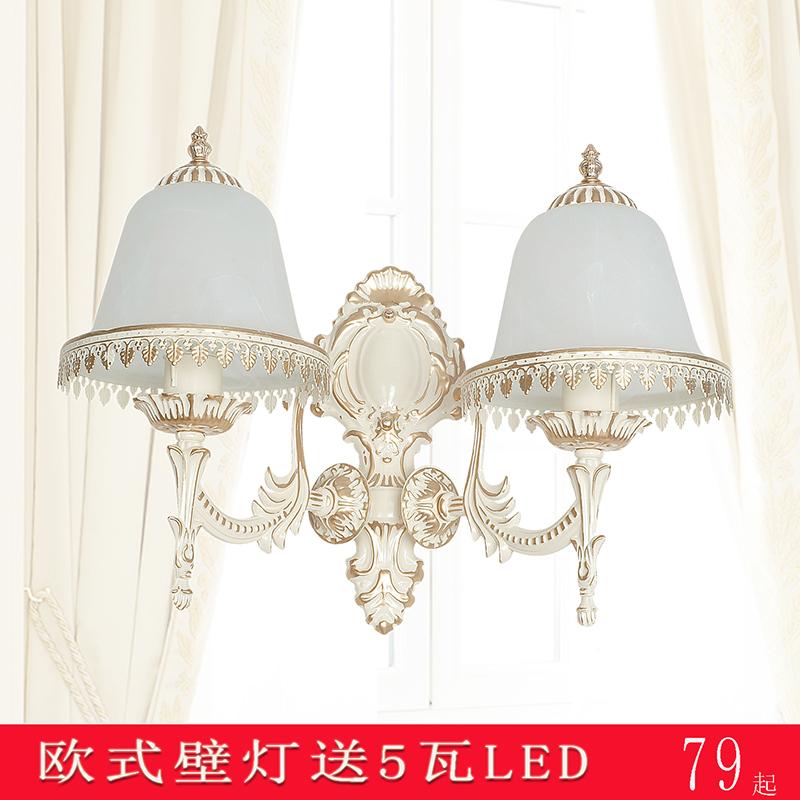 欧式奢华复古锌合金壁灯 客厅 卧室背景墙双头水晶 单头led床头灯-聚利轩旗舰店