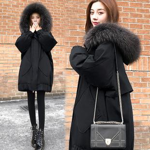 特价清仓白鸭绒羽绒服女2019冬季中长款韩版宽松显瘦大码加厚外套