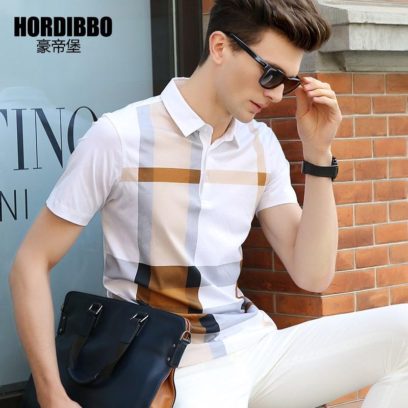 豪帝堡 夏季冰丝白色双丝光棉短袖T恤男翻领纯棉polo衫衬衫领中年