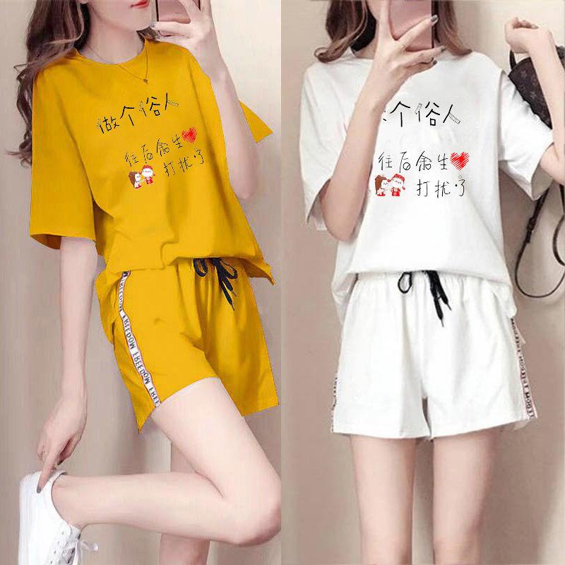 2019新款夏季韩版短袖短裤女两件套时尚休闲运动服套装宽松显瘦潮