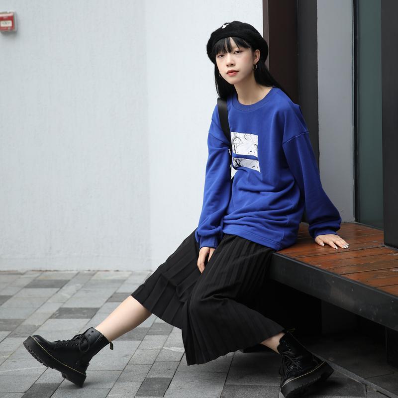 2019春秋新款宽松长袖T恤女薄款圆领套头卫衣+半身裙两件套套装