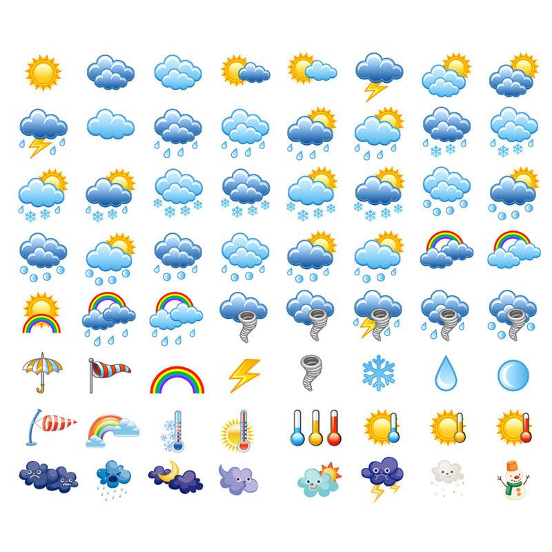 思彤【已裁剪】晴雨表天气预报符号太阳星空星球素材日记手帐贴纸贴画