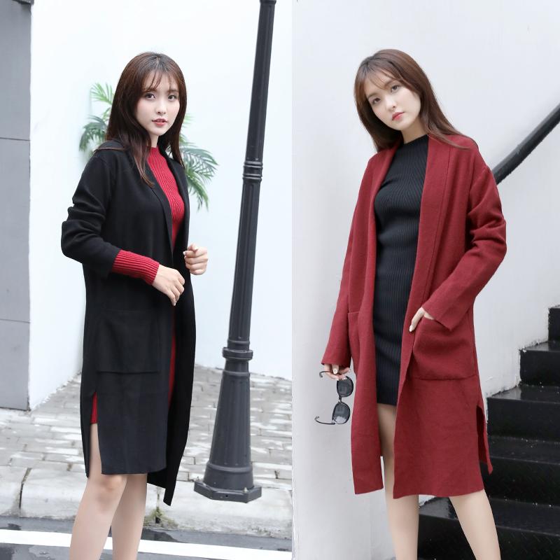 毛衣外套女2020春秋中长款修身显瘦针织衫大衣韩版学院风毛呢外套