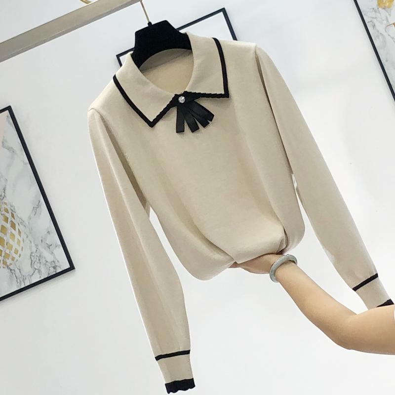 香风 针织衫 气质 打底 蝴蝶结 白领 春秋 上衣 毛衣