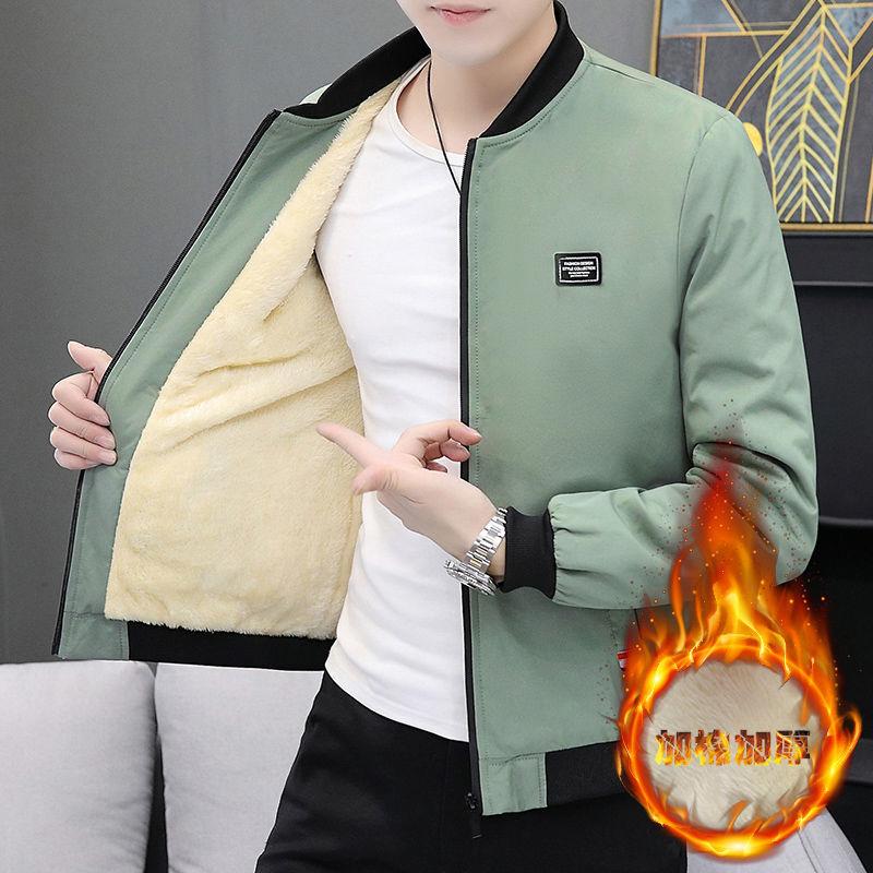 x19男装秋季外套男夹克青少年保暖加绒百搭休闲夹克衫潮流帅气衣