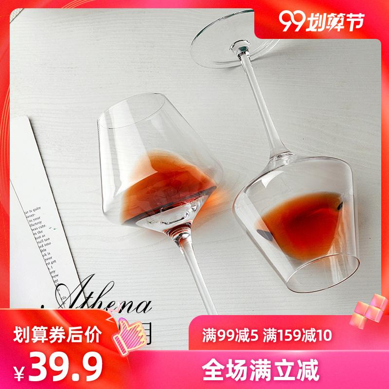 红酒杯套装高脚杯家用2个装葡萄酒杯架醒酒器水晶玻璃杯欧式一对
