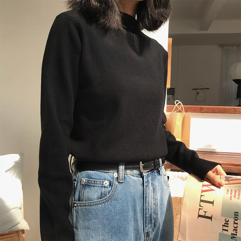 日系黑半高领毛衣女宽松套头线衣内搭针织打底衫秋冬2019洋气港风