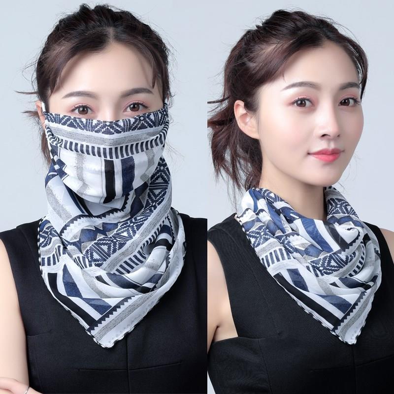 夏季防晒口罩护颈女士雪纺透气面罩骑车开车防紫外线薄小丝巾围脖