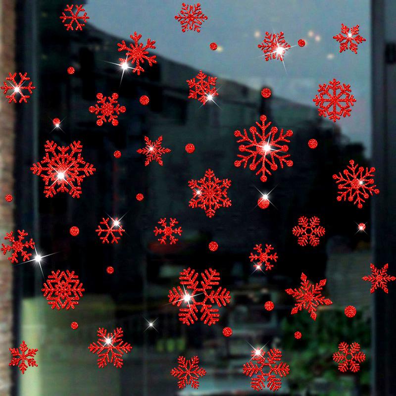 圣诞节新年红色雪花橱窗玻璃贴纸店铺窗花春节布置贴画装饰品门贴
