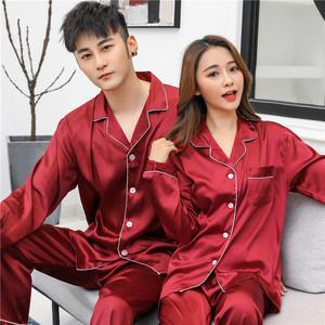 家居服情侣睡衣女夏天薄款冰丝短袖宽松丝绸韩版夏季男士两件套装