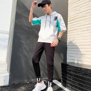 夏季短袖套装男潮牌休闲运动装学生帅气短袖T恤两件时尚学生套装