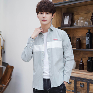 长袖衬衫男秋装韩版衬衣2019帅气外套男士修身寸衫男式新款寸衣潮