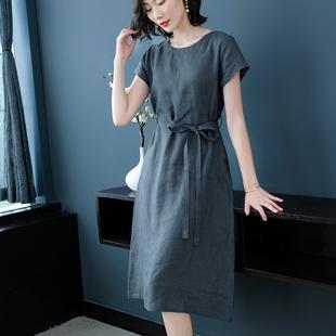 2020夏季短袖亚麻连衣裙女中长款宽松显瘦高端大码女装麻料长裙子图片
