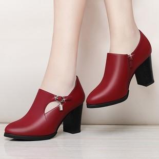 4中跟单鞋女士鞋春秋女鞋2020新款秋鞋中年皮鞋妈妈鞋粗跟高跟鞋