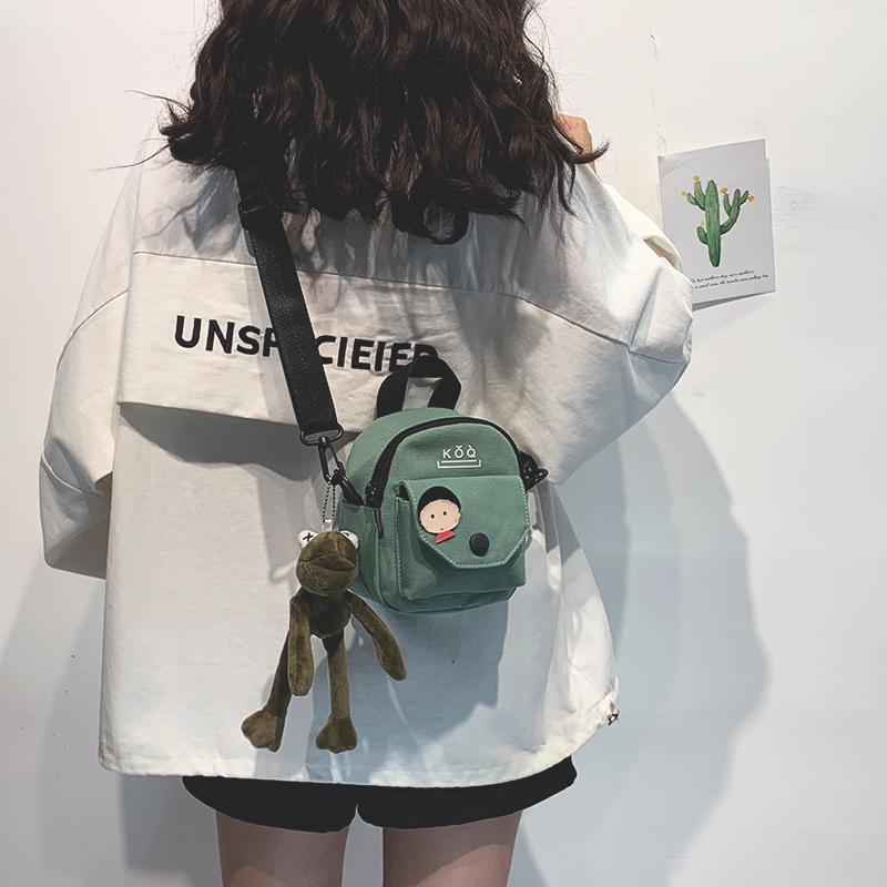 少女小包包女包新款2019潮韩版百搭原宿学生单肩斜挎包时尚帆布包