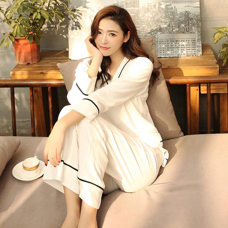 睡衣女春秋纯棉长袖两件套韩版清新可爱卡通少女家居服女套装秋冬