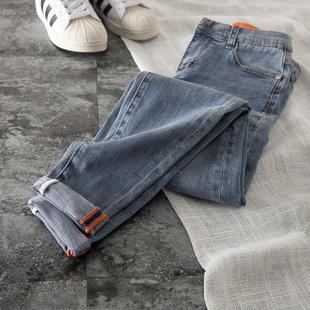 复古修身牛仔裤高腰显瘦2019新款裤子女显腿长弹力九分小脚铅笔裤