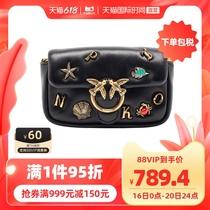 【直营】PINKO女士徽标牌羊皮斜挎包1P226HY72L时尚黑色包袋女包