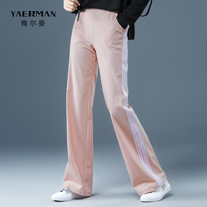 阔腿裤显瘦时尚显瘦垂感2019秋季新款宽松高腰竖条纹运动休闲长裤优惠券