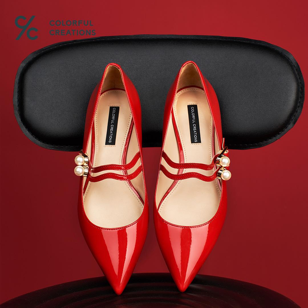 CC女鞋红色法式玛丽珍鞋女复古珍珠尖头单鞋漆皮一字扣低跟平底鞋