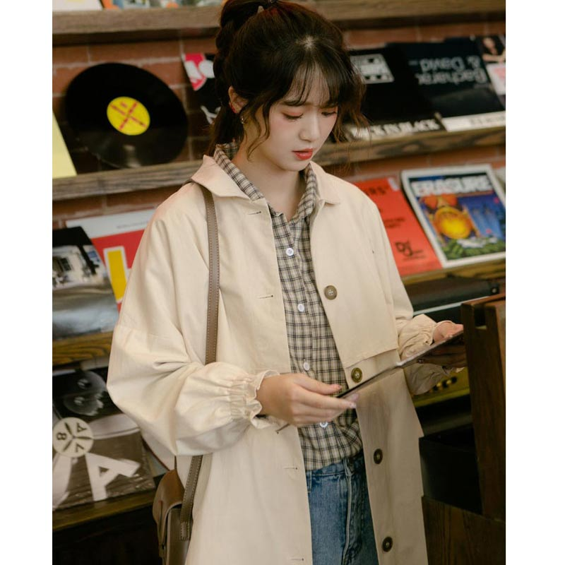 秋新款韩版chic纯色宽松日系复古中长款百搭工装风衣学生外套女
