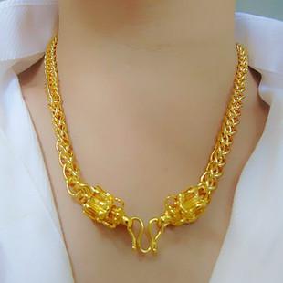 越南沙金项链男泰国大金链子圆珠粗龙头久不掉色镀黄金999男项链图片