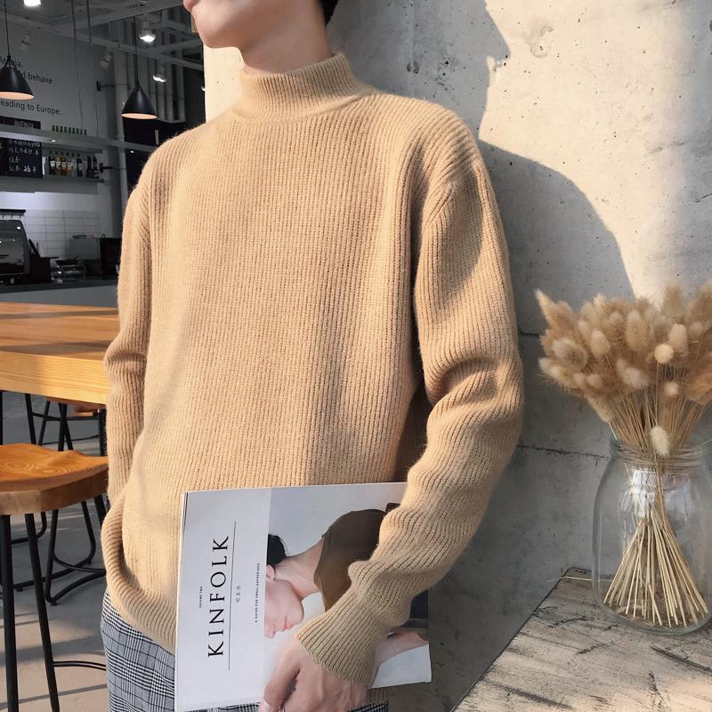 半高领毛衣男2019新款秋冬季韩版潮针织衫加绒加厚套头外套打底衫