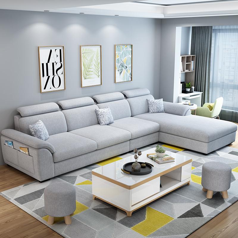 北欧小户型客厅整装贵妃沙发现代简约可拆洗布艺沙发组合家具套装
