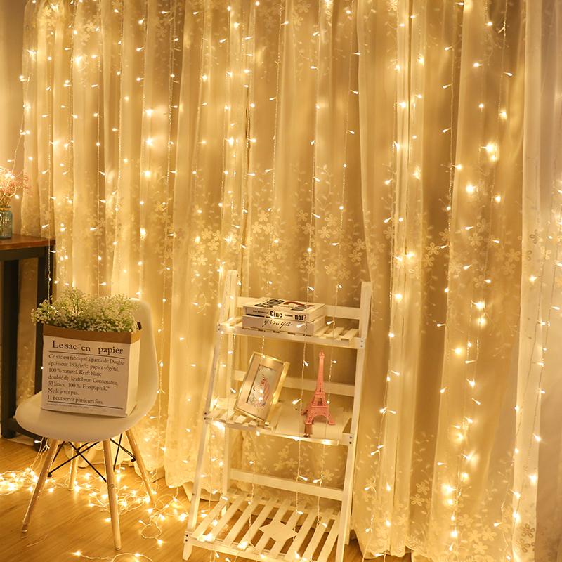 彩灯闪灯串灯满天星卧室浪漫瀑布灯少女心房间酒吧装饰网红窗帘灯